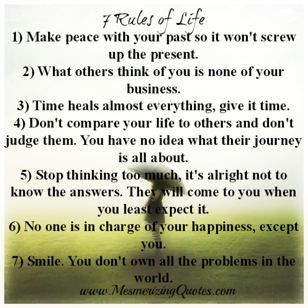 60 Rules Of Life Mesmerizing Quotes Beauteous 7 Rules Of Life Quote