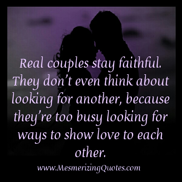Real couples stay faithful