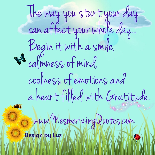 The way you start your day can affect your whole day