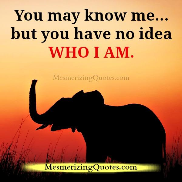 You have no idea about who I am